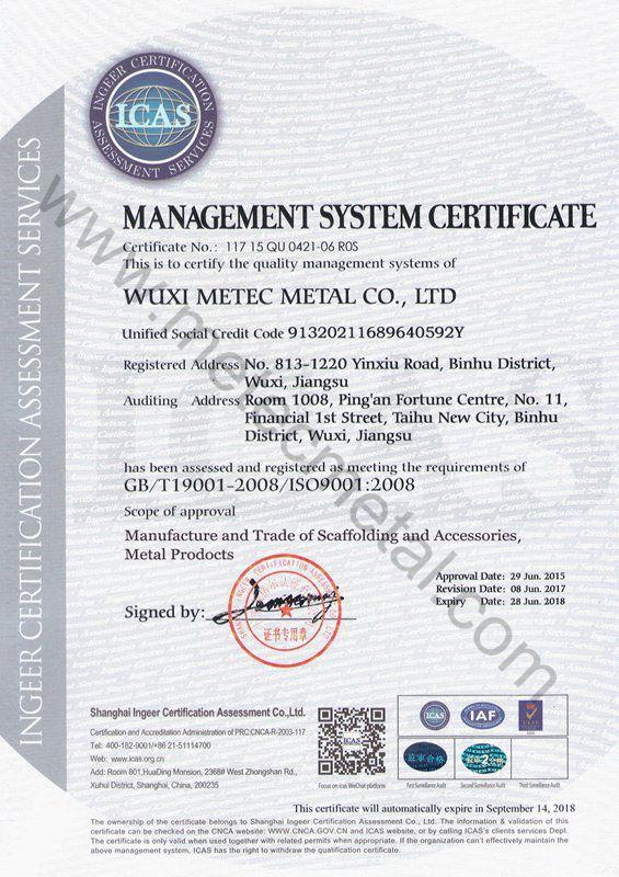Metec ISO 9001